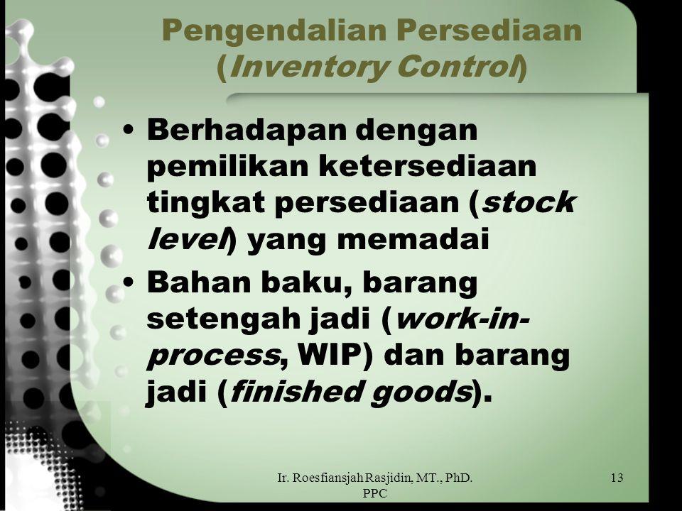 Ir. Roesfiansjah Rasjidin, MT., PhD. PPC 13 Pengendalian Persediaan (Inventory Control) Berhadapan dengan pemilikan ketersediaan tingkat persediaan (s