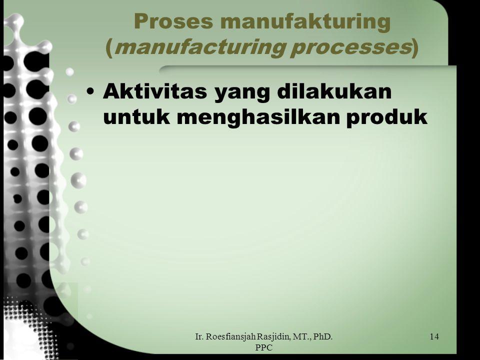 Ir. Roesfiansjah Rasjidin, MT., PhD. PPC 14 Proses manufakturing (manufacturing processes) Aktivitas yang dilakukan untuk menghasilkan produk