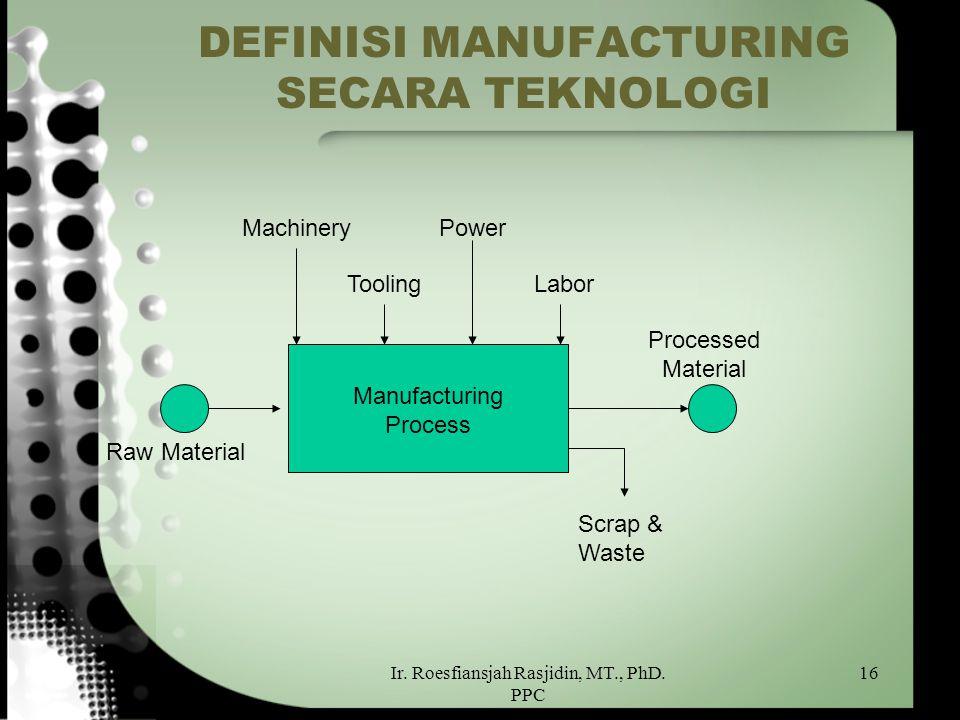 Ir. Roesfiansjah Rasjidin, MT., PhD. PPC 16 DEFINISI MANUFACTURING SECARA TEKNOLOGI Raw Material Manufacturing Process Scrap & Waste Processed Materia