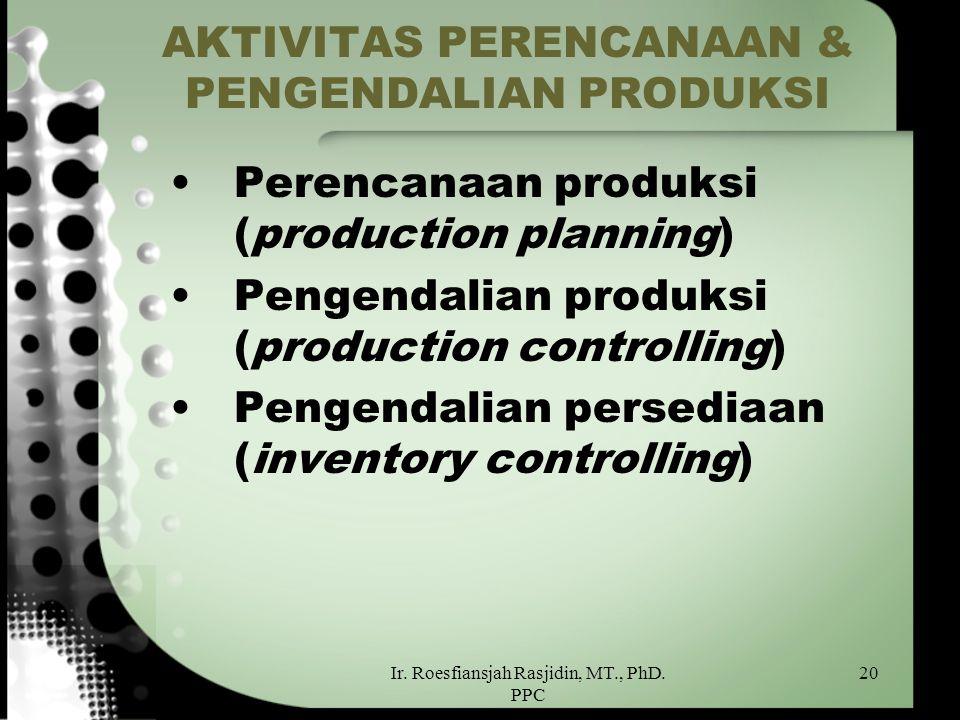 Ir. Roesfiansjah Rasjidin, MT., PhD. PPC 20 AKTIVITAS PERENCANAAN & PENGENDALIAN PRODUKSI Perencanaan produksi (production planning) Pengendalian prod