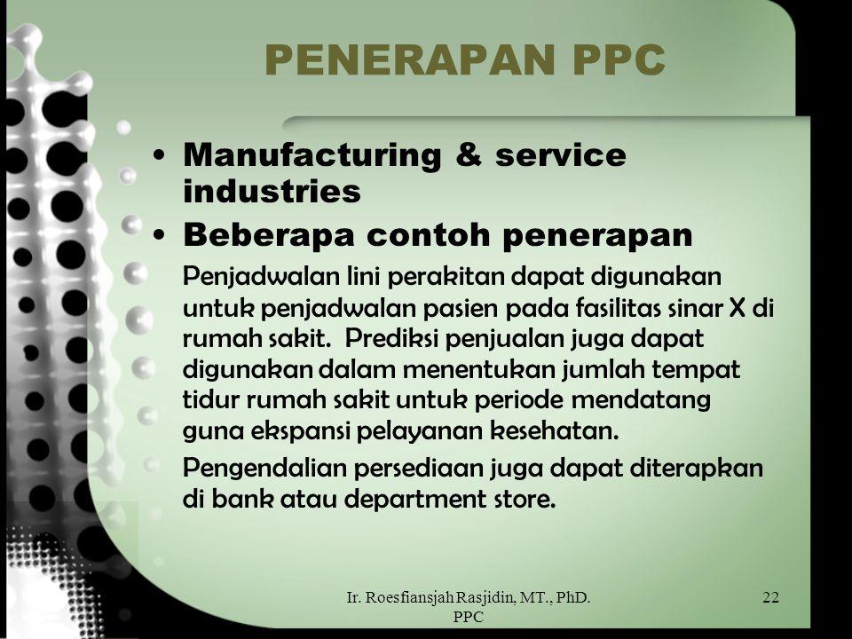 Ir. Roesfiansjah Rasjidin, MT., PhD. PPC 22 PENERAPAN PPC Manufacturing & service industries Beberapa contoh penerapan Penjadwalan lini perakitan dapa
