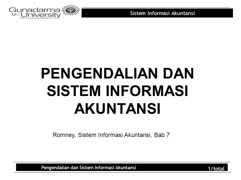 Sistem Informasi Akuntansi Pengendalian dan Sistem Informasi Akuntansi 2/total Outline PENDAHULUAN ANCAMAN-ANCAMAN ATAS SIA TINJAUAN MENYELURUH KONSEP-KONSEP LINGKUNGAN PENGENDALIAN AKTIVITAS-AKTIVITAS PENGENDALIAN PENILAIAN RISIKO INFORMASI DAN KOMUNIKASI MENGAWASI KINERJA