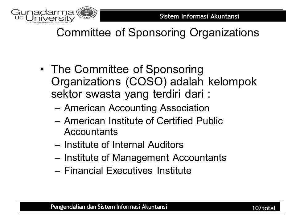 Sistem Informasi Akuntansi Pengendalian dan Sistem Informasi Akuntansi 10/total Committee of Sponsoring Organizations The Committee of Sponsoring Orga