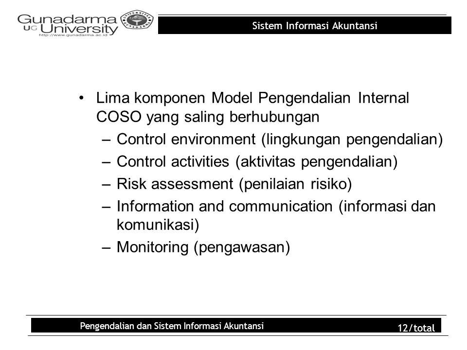 Sistem Informasi Akuntansi Pengendalian dan Sistem Informasi Akuntansi 12/total Lima komponen Model Pengendalian Internal COSO yang saling berhubungan