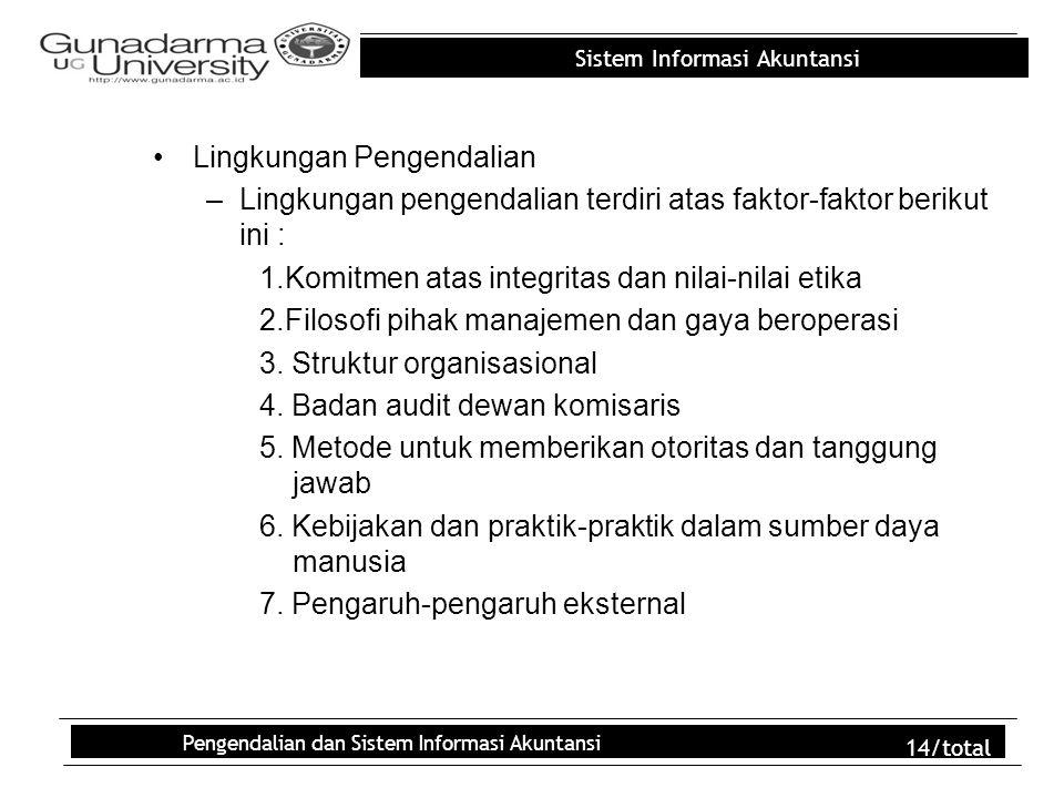 Sistem Informasi Akuntansi Pengendalian dan Sistem Informasi Akuntansi 14/total Lingkungan Pengendalian –Lingkungan pengendalian terdiri atas faktor-f