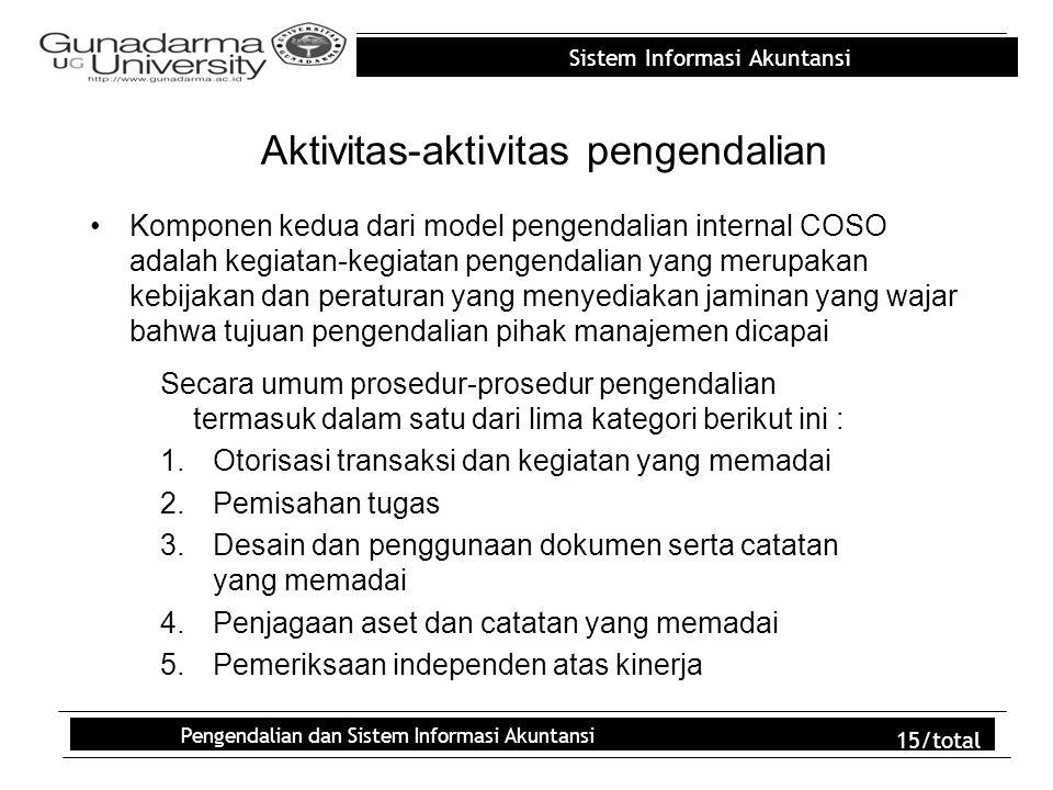 Sistem Informasi Akuntansi Pengendalian dan Sistem Informasi Akuntansi 15/total Aktivitas-aktivitas pengendalian Komponen kedua dari model pengendalia