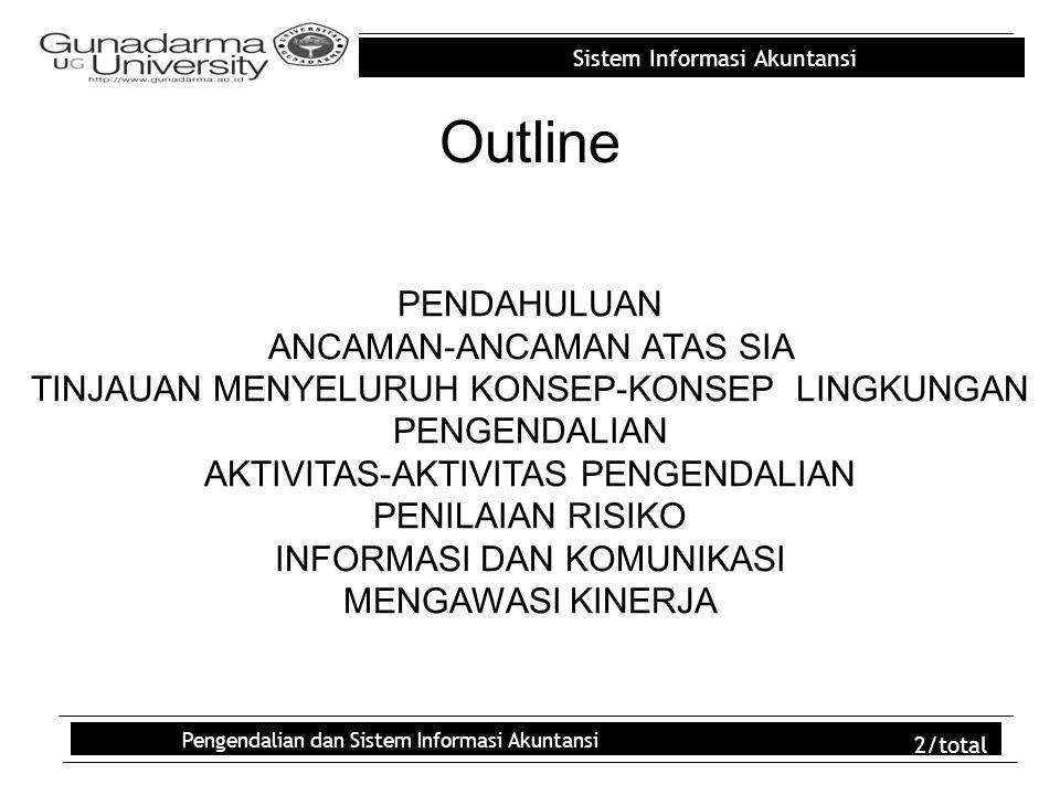 Sistem Informasi Akuntansi Pengendalian dan Sistem Informasi Akuntansi 2/total Outline PENDAHULUAN ANCAMAN-ANCAMAN ATAS SIA TINJAUAN MENYELURUH KONSEP