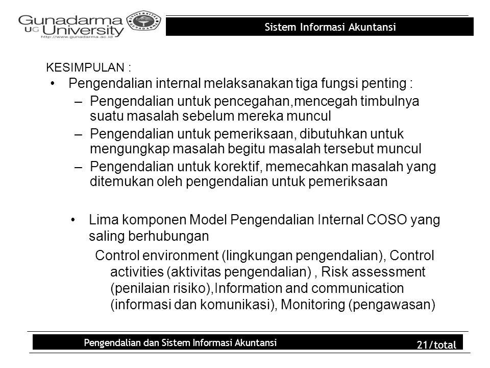 Sistem Informasi Akuntansi Pengendalian dan Sistem Informasi Akuntansi 21/total KESIMPULAN : Pengendalian internal melaksanakan tiga fungsi penting :