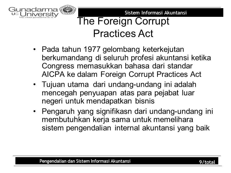 Sistem Informasi Akuntansi Pengendalian dan Sistem Informasi Akuntansi 9/total The Foreign Corrupt Practices Act Pada tahun 1977 gelombang keterkejuta