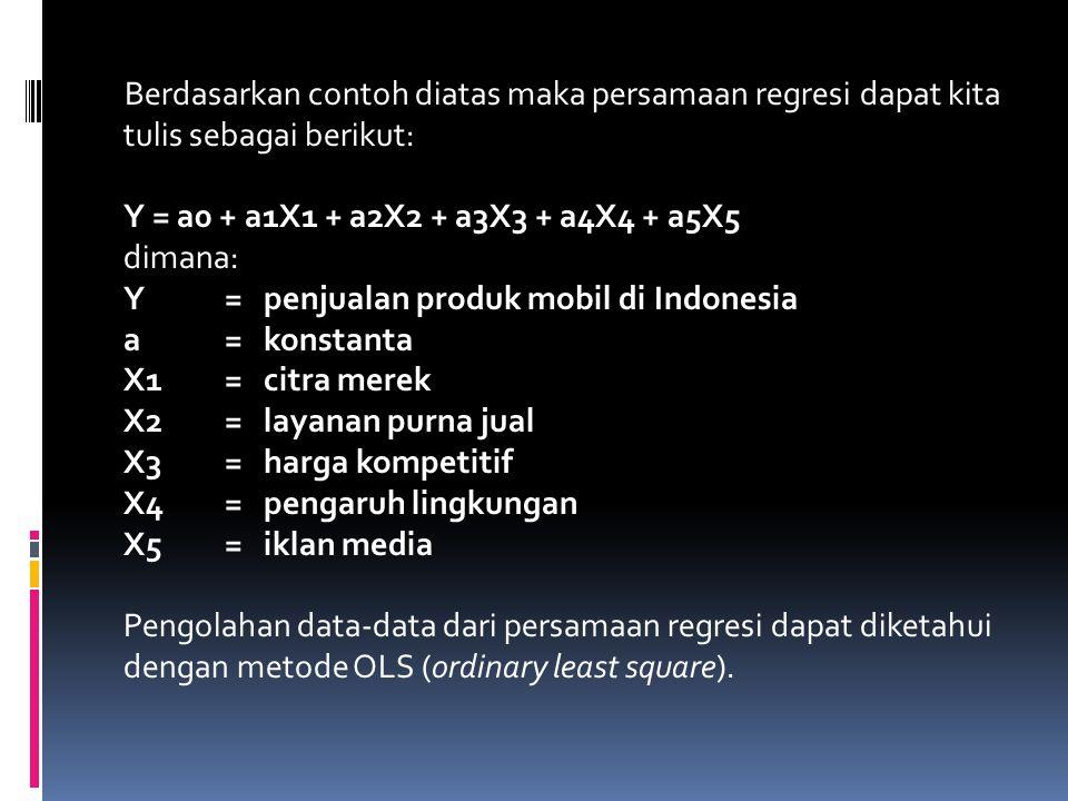 Berdasarkan contoh diatas maka persamaan regresi dapat kita tulis sebagai berikut: Y = a0 + a1X1 + a2X2 + a3X3 + a4X4 + a5X5 dimana: Y = penjualan pro