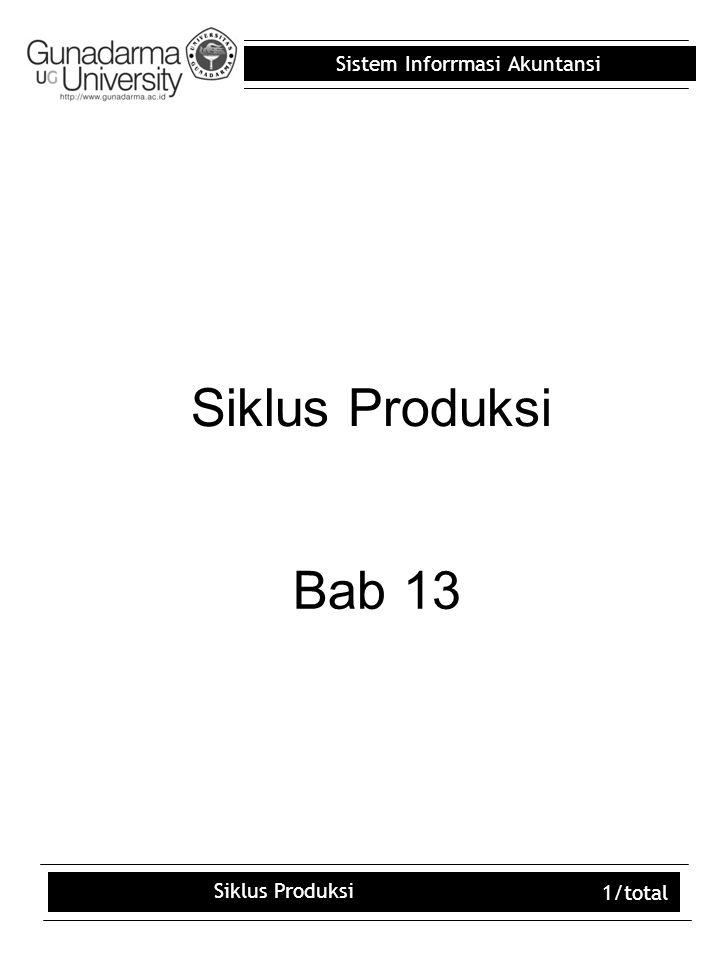 Sistem Inforrmasi Akuntansi Siklus Produksi 1/total Siklus Produksi Bab 13