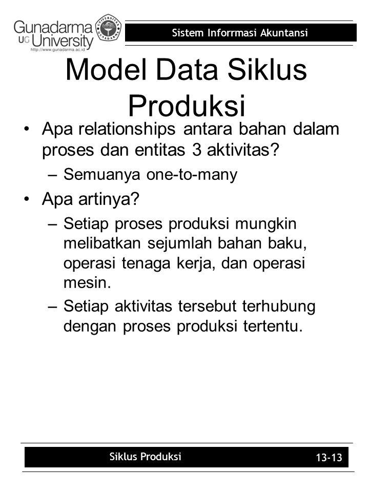Sistem Inforrmasi Akuntansi 13-13 Apa relationships antara bahan dalam proses dan entitas 3 aktivitas? –Semuanya one-to-many Apa artinya? –Setiap pros