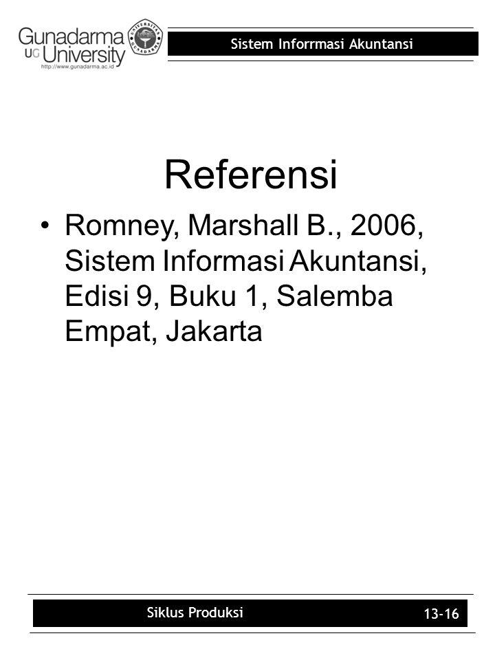 Sistem Inforrmasi Akuntansi 13-16 Referensi Romney, Marshall B., 2006, Sistem Informasi Akuntansi, Edisi 9, Buku 1, Salemba Empat, Jakarta Siklus Prod