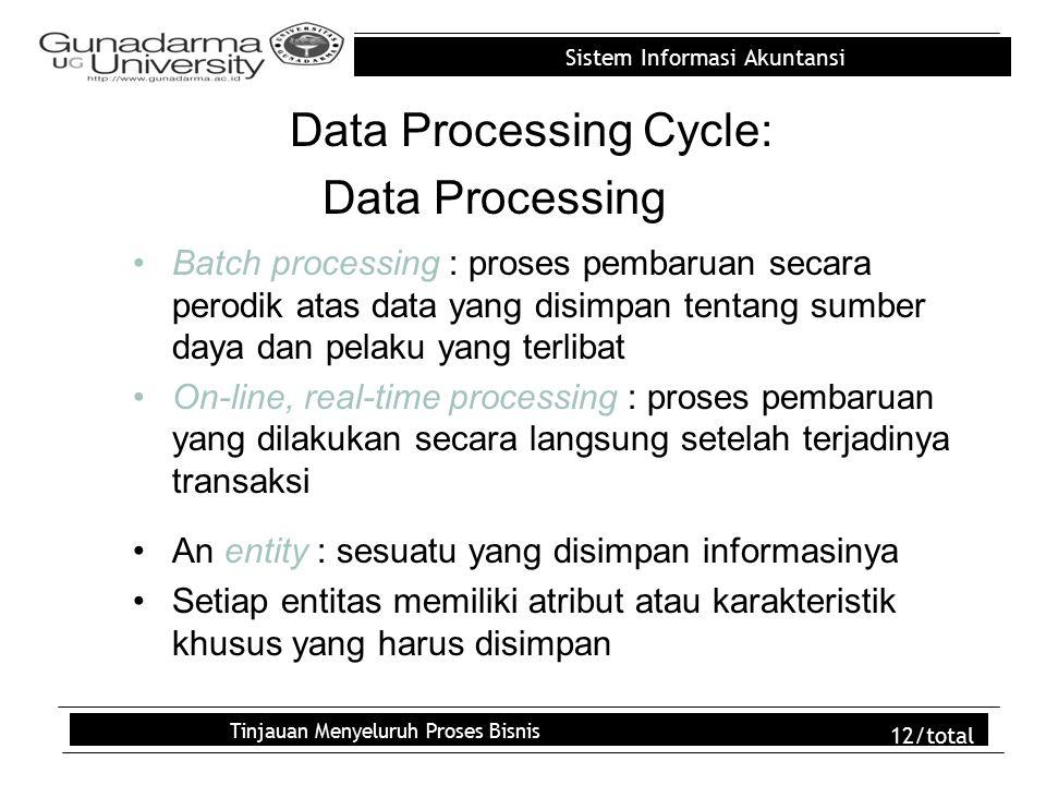 Sistem Informasi Akuntansi Tinjauan Menyeluruh Proses Bisnis 12/total Data Processing Cycle: Data Processing Batch processing : proses pembaruan secara perodik atas data yang disimpan tentang sumber daya dan pelaku yang terlibat On-line, real-time processing : proses pembaruan yang dilakukan secara langsung setelah terjadinya transaksi An entity : sesuatu yang disimpan informasinya Setiap entitas memiliki atribut atau karakteristik khusus yang harus disimpan