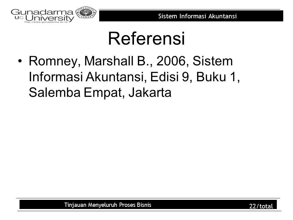 Sistem Informasi Akuntansi Tinjauan Menyeluruh Proses Bisnis 22/total Referensi Romney, Marshall B., 2006, Sistem Informasi Akuntansi, Edisi 9, Buku 1, Salemba Empat, Jakarta