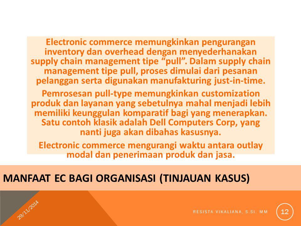 """Electronic commerce memungkinkan pengurangan inventory dan overhead dengan menyederhanakan supply chain management tipe """"pull"""". Dalam supply chain man"""