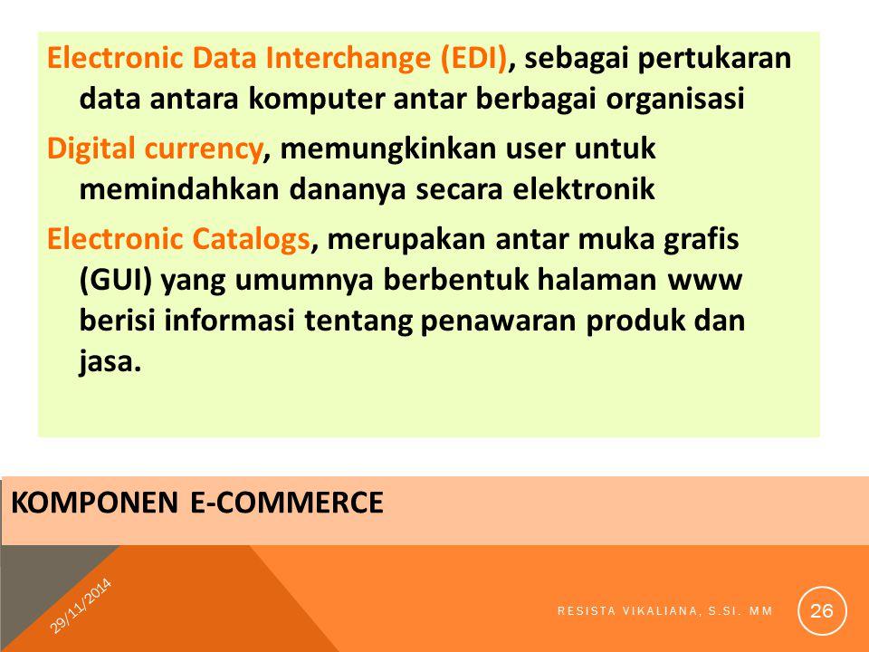 KOMPONEN E-COMMERCE Electronic Data Interchange (EDI), sebagai pertukaran data antara komputer antar berbagai organisasi Digital currency, memungkinka