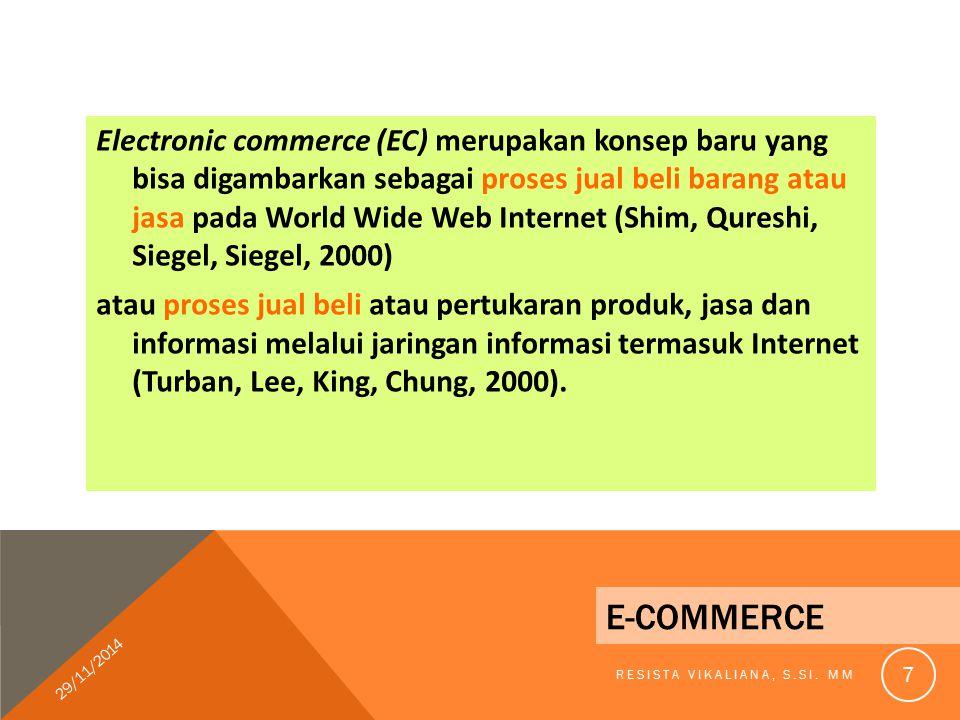 DEFINISI E - COMMERCE E-commerce merupakan suatu tindakan melakukan transaksi bisnis secara elektronik dengan menggunakan internet sebagai media komunikasi yang paling utama (Robert E.