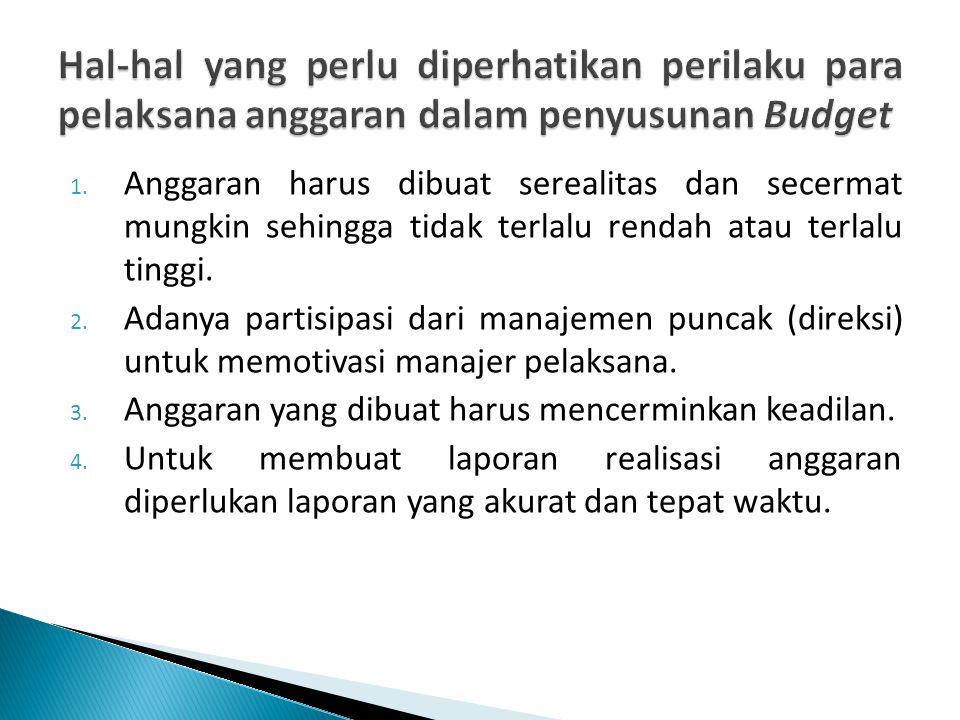 1. Anggaran harus dibuat serealitas dan secermat mungkin sehingga tidak terlalu rendah atau terlalu tinggi. 2. Adanya partisipasi dari manajemen punca