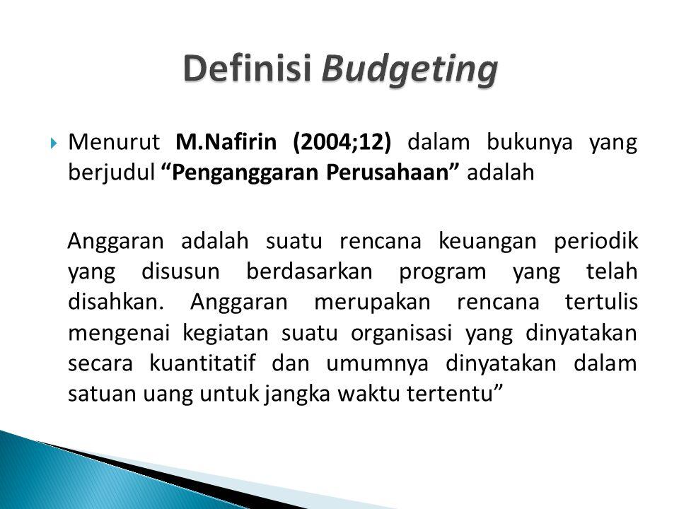 """ Menurut M.Nafirin (2004;12) dalam bukunya yang berjudul """"Penganggaran Perusahaan"""" adalah Anggaran adalah suatu rencana keuangan periodik yang disusu"""