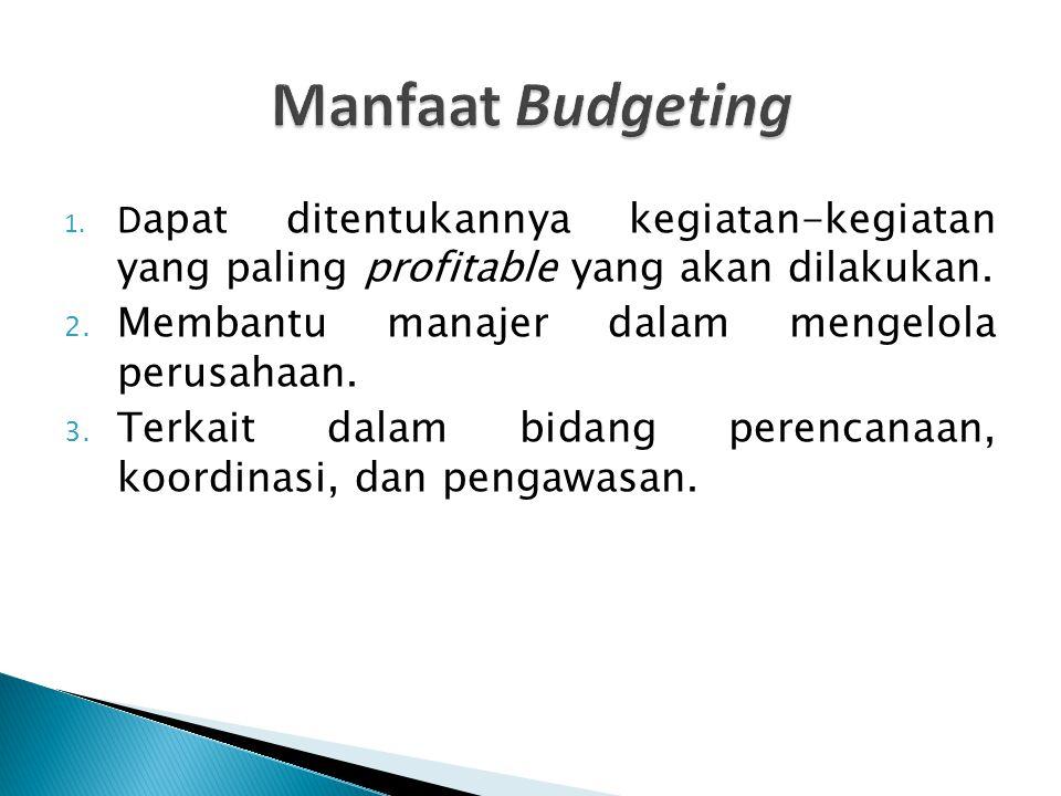 1. D apat ditentukannya kegiatan-kegiatan yang paling profitable yang akan dilakukan. 2. Membantu manajer dalam mengelola perusahaan. 3. Terkait dalam