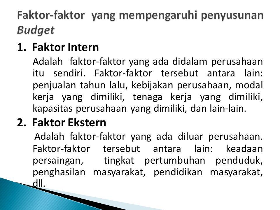 1. Faktor Intern Adalah faktor-faktor yang ada didalam perusahaan itu sendiri. Faktor-faktor tersebut antara lain: penjualan tahun lalu, kebijakan per