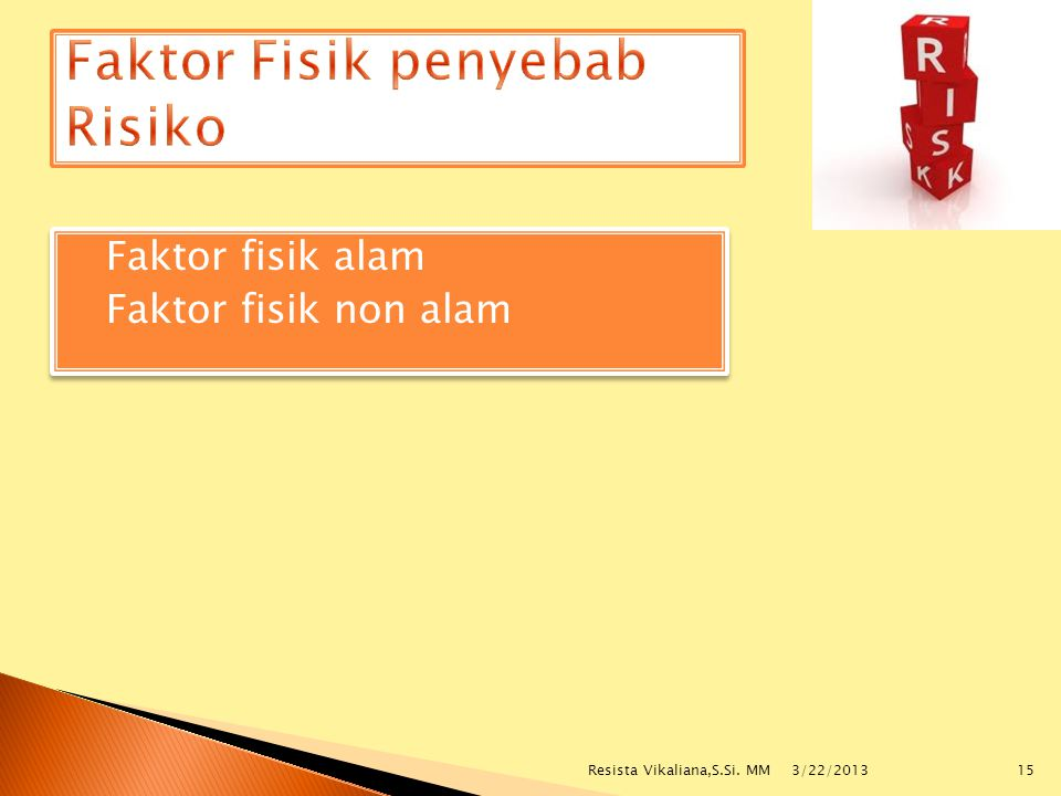  Faktor fisik alam  Faktor fisik non alam  Faktor fisik alam  Faktor fisik non alam 3/22/2013 15Resista Vikaliana,S.Si. MM