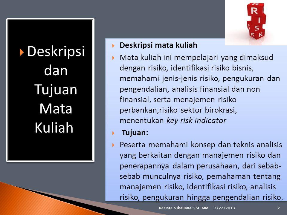  Sosial  Fisik (kebakaran, cuaca, petir, tanah longsor, dan lain-lain)  Ekonomi 3/22/2013 13Resista Vikaliana,S.Si.