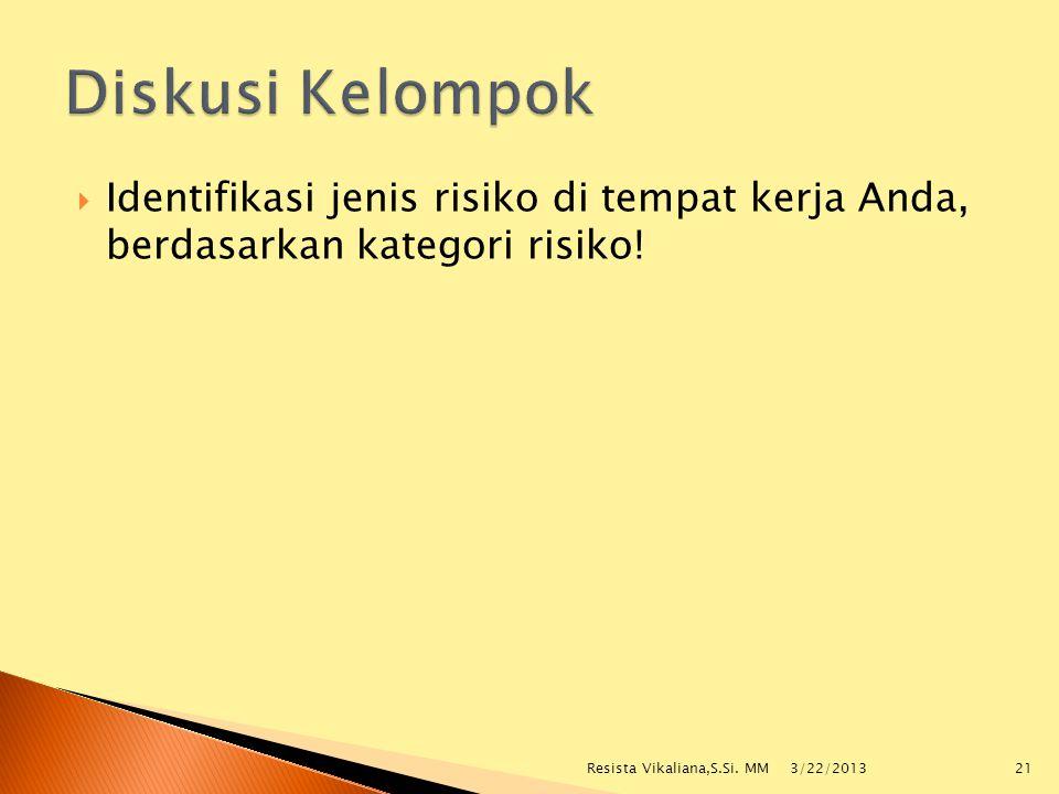  Identifikasi jenis risiko di tempat kerja Anda, berdasarkan kategori risiko! 3/22/2013 Resista Vikaliana,S.Si. MM21