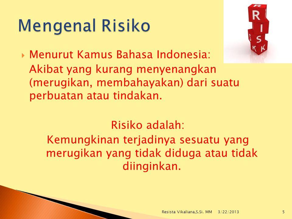  Menurut Kamus Bahasa Indonesia: Akibat yang kurang menyenangkan (merugikan, membahayakan) dari suatu perbuatan atau tindakan. Risiko adalah: Kemungk
