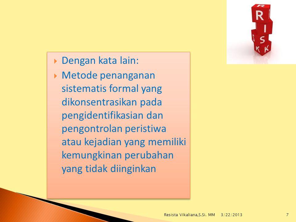 Perkara Hukum Kemungkinan Risiko Hukum yang Dihadapi Perusahaan Hak Kekayaan Intelektual Etika Bisnis Legalitas Usaha Tuntutan Karyawan Dampak Perkara Hukum 3/22/2013 18Resista Vikaliana,S.Si.