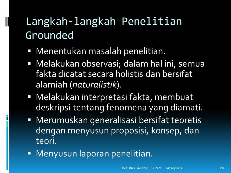 DESAIN PENELITIAN KUALITATIF/GROUNDED  Desain penelitian Grounded adalah desain penelitian yang disusun untuk membuat generalisasi empiris, menetapka