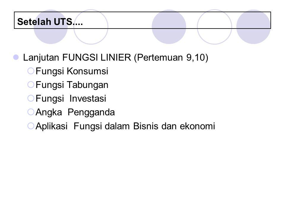 Setelah UTS.... Lanjutan FUNGSI LINIER (Pertemuan 9,10)  Fungsi Konsumsi  Fungsi Tabungan  Fungsi Investasi  Angka Pengganda  Aplikasi Fungsi dal