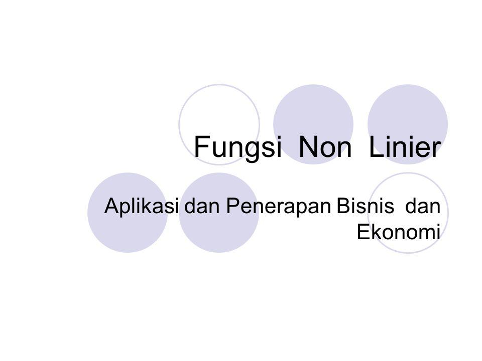 Fungsi Non Linier Aplikasi dan Penerapan Bisnis dan Ekonomi