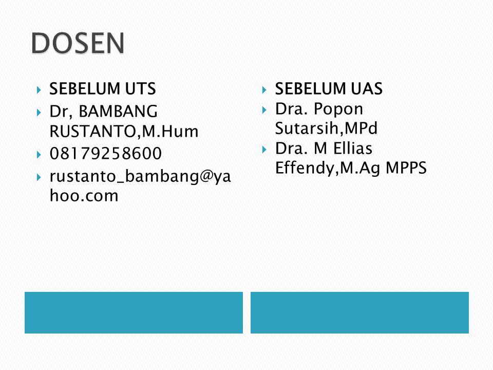  SEBELUM UTS  Dr, BAMBANG RUSTANTO,M.Hum  08179258600  rustanto_bambang@ya hoo.com  SEBELUM UAS  Dra. Popon Sutarsih,MPd  Dra. M Ellias Effendy