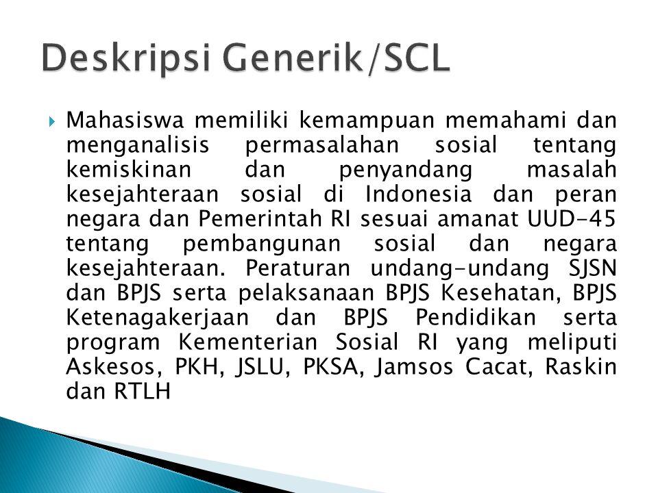  Mahasiswa memiliki kemampuan memahami dan menganalisis permasalahan sosial tentang kemiskinan dan penyandang masalah kesejahteraan sosial di Indones