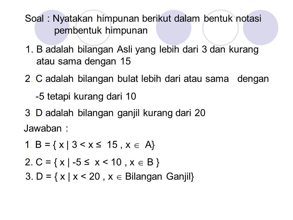 Penyajian Himpunan Dua macam cara : -Cara daftar contoh : A = {1, 2, 3, 4, 5} -Cara kaidah contoh : A = {y] 6 > y > 0}