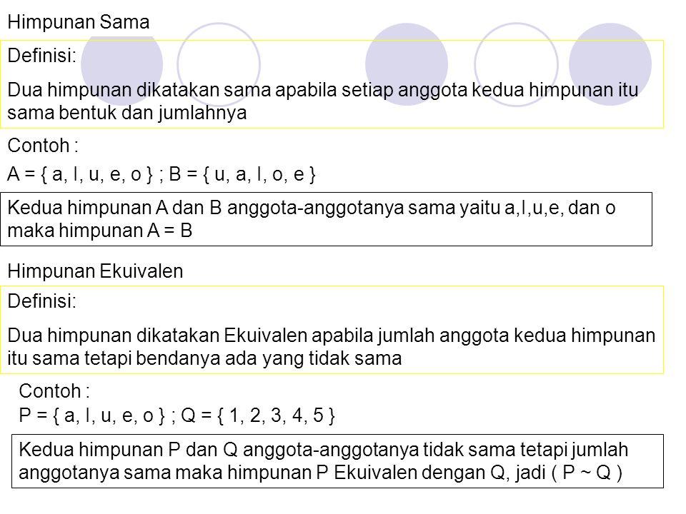 Rumus Banyaknya Himpunan Bagian Jika suatu himpunan mempunyai anggota sebanyak n(A) maka banyaknya himpunan bagian dari A adalah sebanyak 2 n(A) Conto