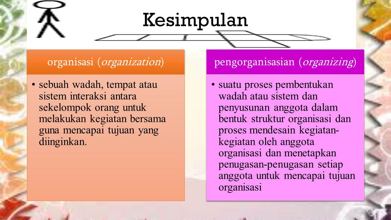 Kesimpulan organisasi (organization) sebuah wadah, tempat atau sistem interaksi antara sekelompok orang untuk melakukan kegiatan bersama guna mencapai tujuan yang diinginkan.