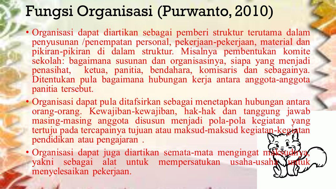 Fungsi Organisasi (Purwanto, 2010) Organisasi dapat diartikan sebagai pemberi struktur terutama dalam penyusunan /penempatan personal, pekerjaan-pekerjaan, material dan pikiran-pikiran di dalam struktur.