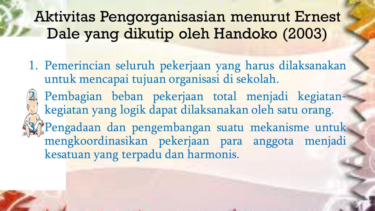 Aktivitas Pengorganisasian menurut Ernest Dale yang dikutip oleh Handoko (2003) 1.Pemerincian seluruh pekerjaan yang harus dilaksanakan untuk mencapai tujuan organisasi di sekolah.