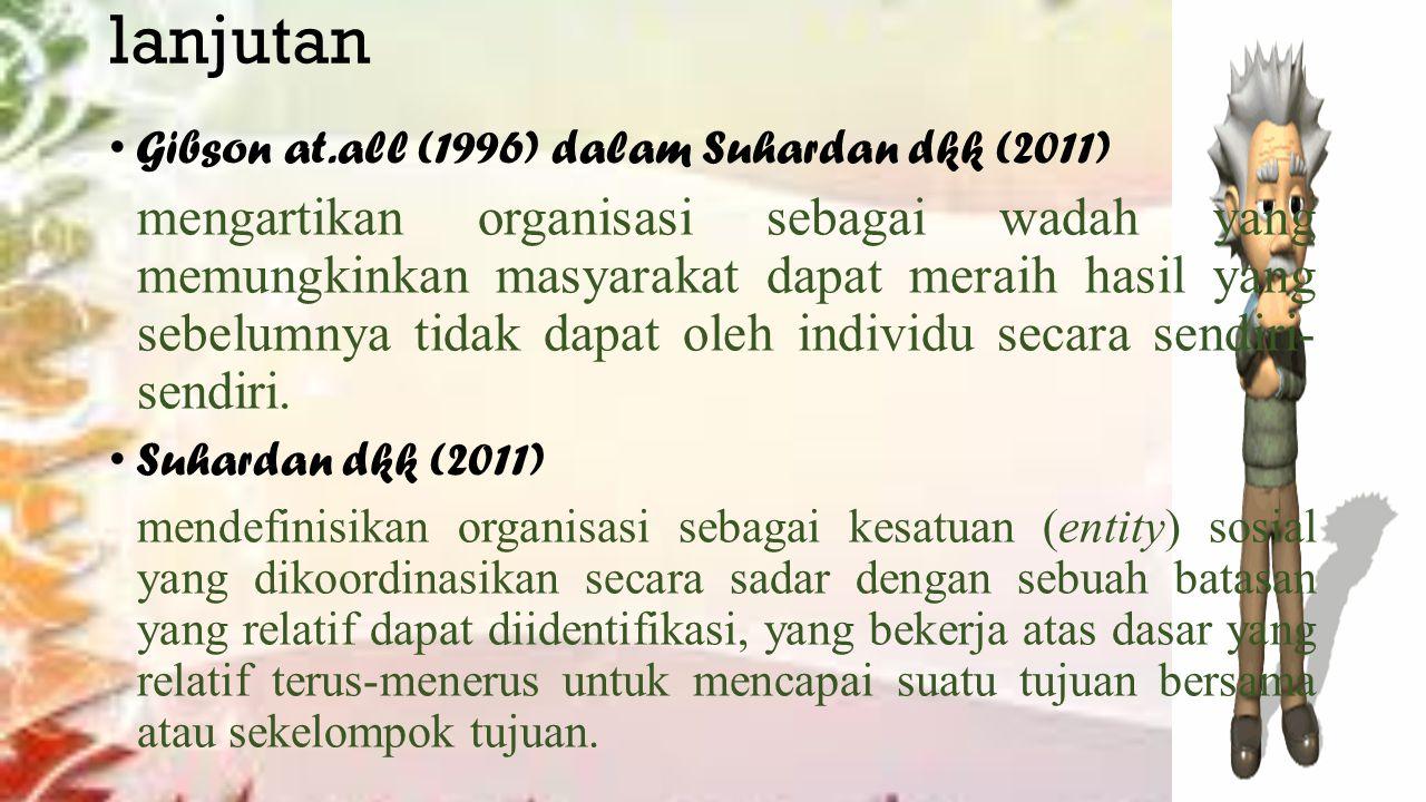 lanjutan Gibson at.all (1996) dalam Suhardan dkk (2011) mengartikan organisasi sebagai wadah yang memungkinkan masyarakat dapat meraih hasil yang sebelumnya tidak dapat oleh individu secara sendiri- sendiri.