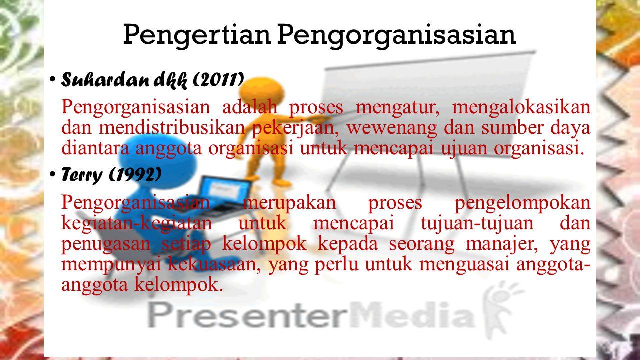 Pengertian Pengorganisasian Suhardan dkk (2011) Pengorganisasian adalah proses mengatur, mengalokasikan dan mendistribusikan pekerjaan, wewenang dan sumber daya diantara anggota organisasi untuk mencapai ujuan organisasi.
