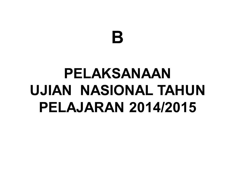 B PELAKSANAAN UJIAN NASIONAL TAHUN PELAJARAN 2014/2015