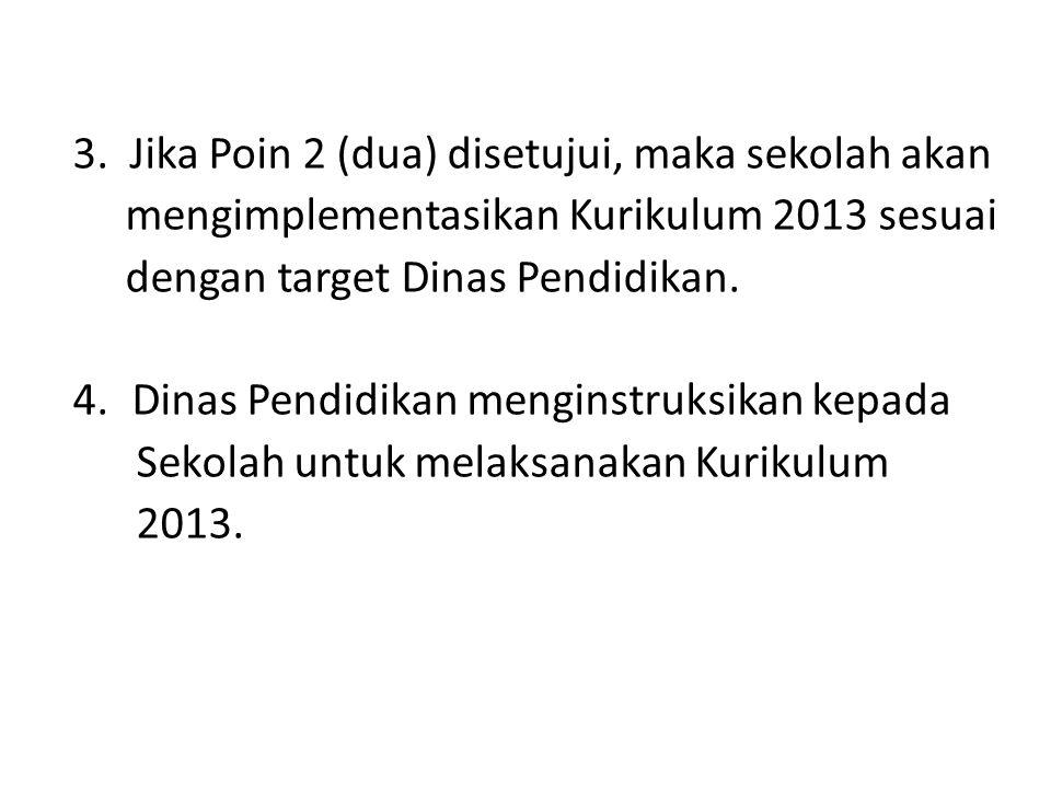 3. Jika Poin 2 (dua) disetujui, maka sekolah akan mengimplementasikan Kurikulum 2013 sesuai dengan target Dinas Pendidikan. 4.Dinas Pendidikan mengins