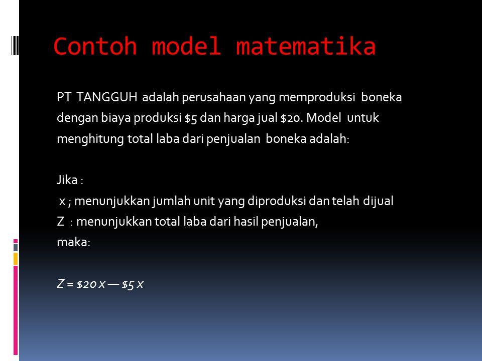Contoh model matematika PT TANGGUH adalah perusahaan yang memproduksi boneka dengan biaya produksi $5 dan harga jual $20. Model untuk menghitung total