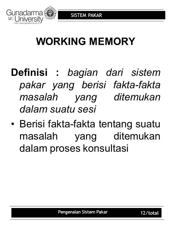 SISTEM PAKAR Pengenalan Sistem Pakar 12/total WORKING MEMORY Definisi : bagian dari sistem pakar yang berisi fakta-fakta masalah yang ditemukan dalam suatu sesi Berisi fakta-fakta tentang suatu masalah yang ditemukan dalam proses konsultasi