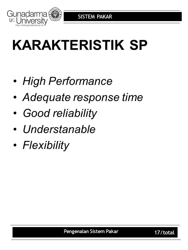 SISTEM PAKAR Pengenalan Sistem Pakar 17/total KARAKTERISTIK SP High Performance Adequate response time Good reliability Understanable Flexibility