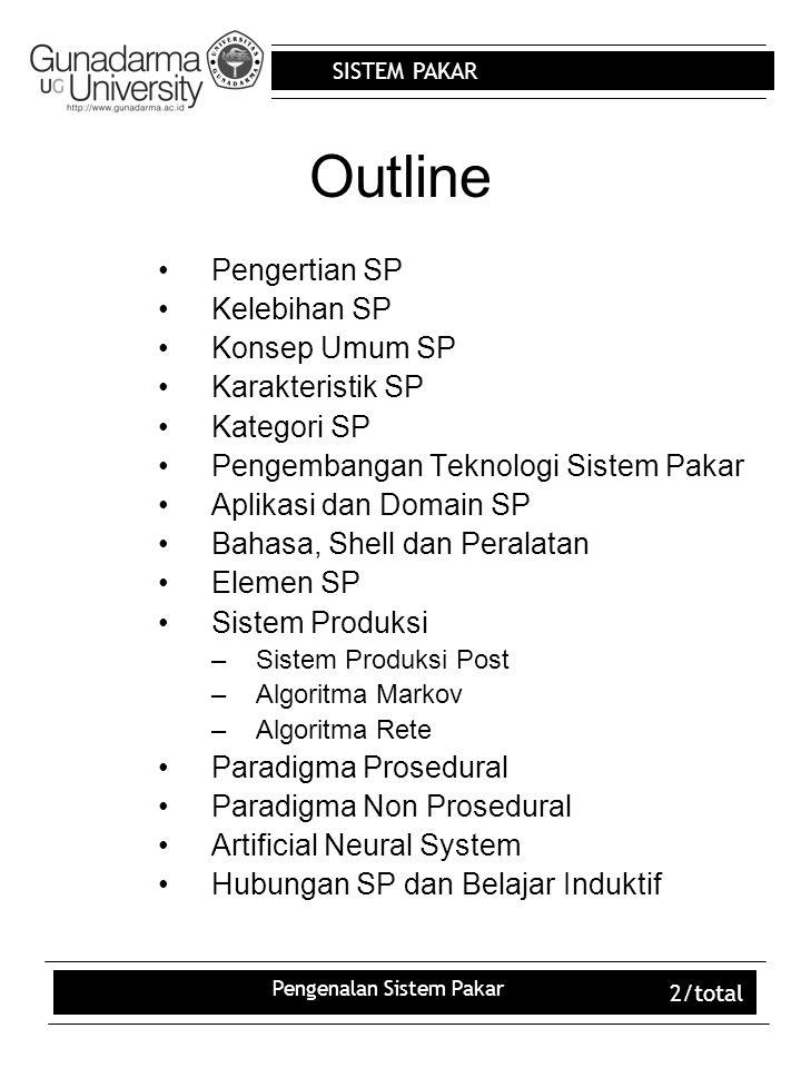 SISTEM PAKAR Pengenalan Sistem Pakar 2/total Outline Pengertian SP Kelebihan SP Konsep Umum SP Karakteristik SP Kategori SP Pengembangan Teknologi Sistem Pakar Aplikasi dan Domain SP Bahasa, Shell dan Peralatan Elemen SP Sistem Produksi –Sistem Produksi Post –Algoritma Markov –Algoritma Rete Paradigma Prosedural Paradigma Non Prosedural Artificial Neural System Hubungan SP dan Belajar Induktif