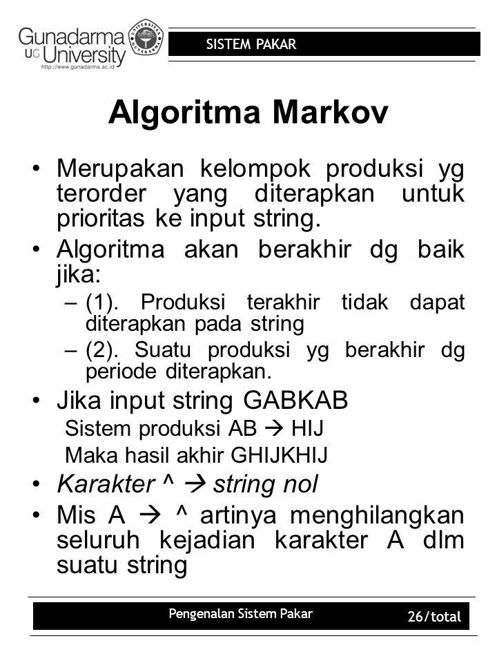 SISTEM PAKAR Pengenalan Sistem Pakar 26/total Algoritma Markov Merupakan kelompok produksi yg terorder yang diterapkan untuk prioritas ke input string.
